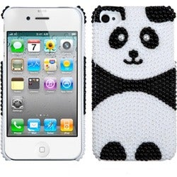 INSTEN Playful Panda/ Pearl/ Diamond Phone Case Cover for Apple iPhone 4S/ 4