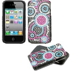 INSTEN Bubble/ Diamante Fusion Phone Case Cover for Apple iPhone 4S/ 4