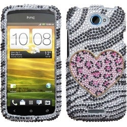 INSTEN Playful Leopard Diamante Phone Case Cover for HTC One S