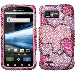 INSTEN Cloudy Hearts/ Diamante Phone Case Cover for Motorola MB865 Atrix 2