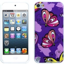 Insten Purple Butterfly TPU Rubber Candy Skin Glossy Case Cover For Apple iPod Touch 5th/ 6th Gen