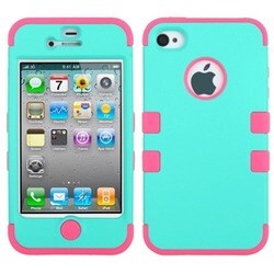 INSTEN Rubberized TUFF Hybrid Phone Case Cover for Apple iPhone 4S/ 4