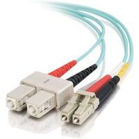 C2G 6m LC-SC 10Gb 50/125 Duplex Multimode OM3 Fiber Cable - Aqua - 20