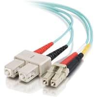 C2G 7m LC-SC 10Gb 50/125 Duplex Multimode OM3 Fiber Cable - Aqua - 23