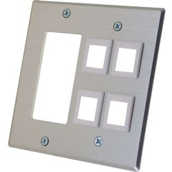 C2G Decora Compatible Cutout with Four Keystone Double Gang Wall Plat