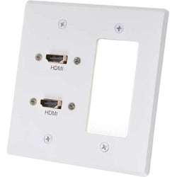 C2G RapidRun Dual HDMI Double Gang Wall Plate Transmitter with One De
