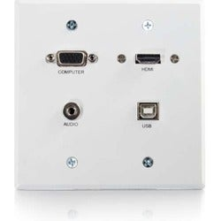 C2G-RapidRun VGA + 3.5mm Double Gang Wall Plate + HDMI and USB Pass T