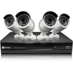 Swann NVR8-7300 8 Channel 3MP Network Video Recorder & 4 x NHD-815 3M