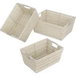 Whitmor Set of 3 Rattique Baskets, Java