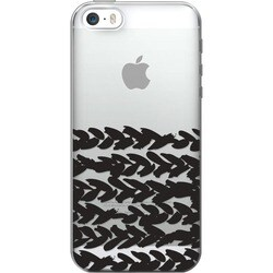 OTM Classic Prints Clear Phone Case, Black on Clear Half Hearts- iPho