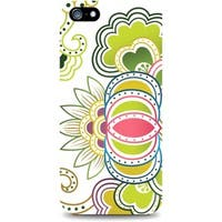 OTM iPhone 5 White Glossy Case Paisley Collection, Green