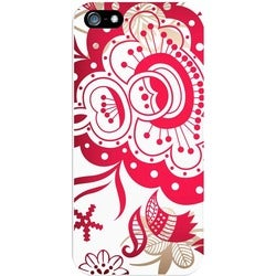 OTM Floral Prints White Phone Case, Paisley Red - iPhone 5/5S