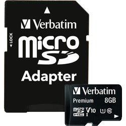 Verbatim 8GB Premium microSDHC Memory Card with Adapter, UHS-I Class