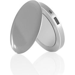 HyperJuice Pearl: Compact Mirror + USB Rechargeable Battery Pack (Sil