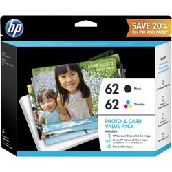 HP 62 Ink Cartridge/Paper Kit - Black, Tri-color