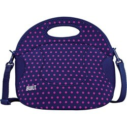 Built NY Spicy Relish Navy and Pink Polka Dot Carrying Lunch Case
