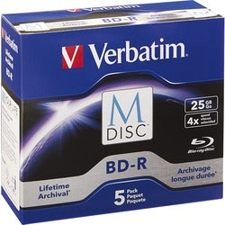 Verbatim M-Disc BD-R 25GB 4X with Branded Surface - 5pk Jewel Case Bo