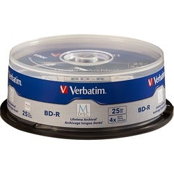 Verbatim M-Disc BD-R 25GB 4X with Branded Surface - 25pk Spindle - TA