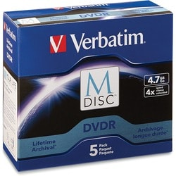 Verbatim M-Disc DVDR 4.7GB 4X with Branded Surface - 5pk Jewel Case B