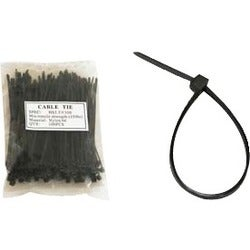 Unirise 8in Nylon Cable Tie 50lbs Black 100pk