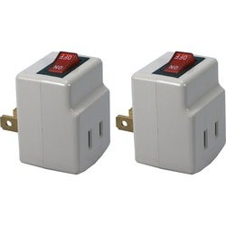 QVS 2-Pack Single-Port Power Adaptor with On/Off Switch