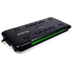 Plugable 12 AC Outlet Surge Protector with Built-In 10.5W 2-Port USB