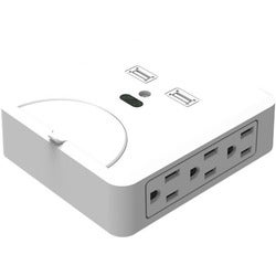 Inland 6 Outlets Walltap 2 USB Charging 3.1A 600 Joules