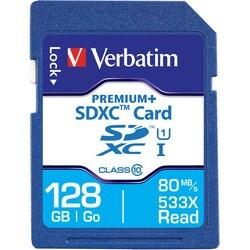 Verbatim 128GB PremiumPlus 533X SDXC Memory Card, UHS-I Class 10
