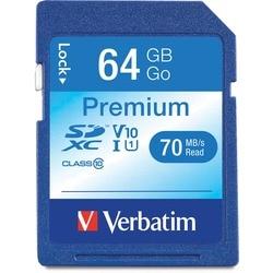 Verbatim 64GB Premium SDXC Memory Card, UHS-I Class 10 - TAA Complian