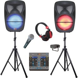 QFX Speaker System - Pole-mountable, Portable - Battery Rechargeable