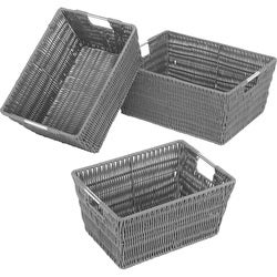 Whitmor Set of 3 Rattique Baskets Gray