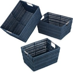 Whitmor Set of 3 Rattique Baskets Navy