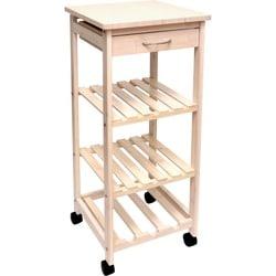 Lipper Bamboo Space-Saving Cart with 1 Drawer, Whitewash Finish