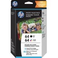 HP 64 Original Ink Cartridge/Paper Kit Value Pack - Black, Tri-color