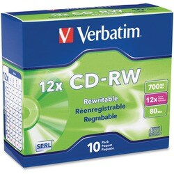 Verbatim CD-RW 700MB 4X-12X High Speed with Branded Surface - 10pk Sl