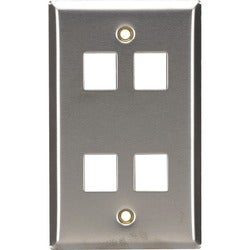 Black Box Stainless Steel Wallplate, Keystone, Single-Width, 4-Punch