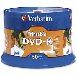 Verbatim DVD-R 4.7GB 16X White Inkjet Printable with Branded Hub - 50