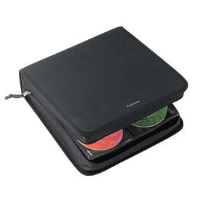 Fellowes CD Case - Book Fold - Nylon - Black - 320 CD/DVD