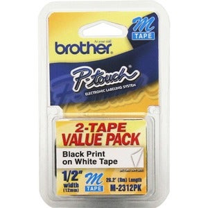 Brother O.5-inch Black-on-white Adhesive Non-laminated Labelmaker Tape