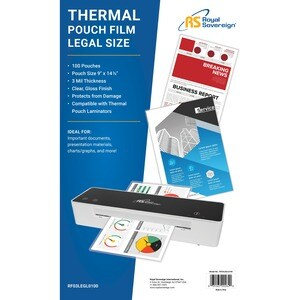 Royal Sovereign RF03LEGL0100 Heat Sealed Laminating Pouch