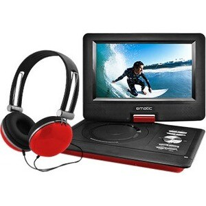 "Ematic EPD116 Portable DVD Player - 10"" Display - 1024 x 600 - Red"