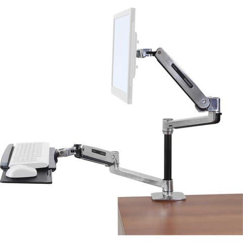 Ergotron WorkFit-LX Desk Mount for Flat Panel Display, Keyboard, Mouse - Polished Aluminum