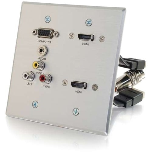 Cables to Go RapidRun Faceplate, Silver aluminum #60143