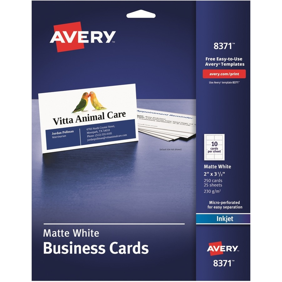 Avery Dennison Perforated Ink Jet Business Cards