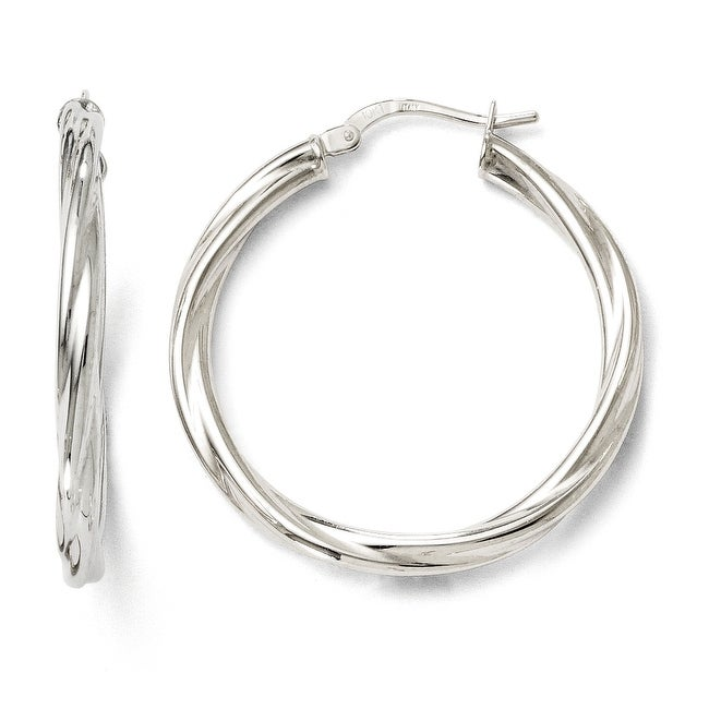 Italian 10k White Gold Polished Twisted Hinged Hoop Earrings