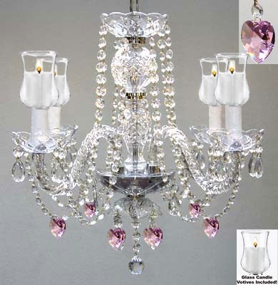 Crystal Chandelier Lighting With Candle Votives H17 W17 For Indoor/Outdoor Use