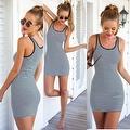 Women's Sundress Sleeveless Striped Camisole Tank Dress Beach Dress - Thumbnail 7