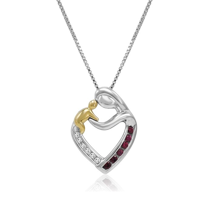 Amanda Rose Sterling Silver and 14K Gold Created Ruby and Diamond Mother and Child Heart Pendant-Nec