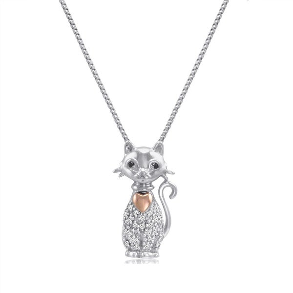 Amanda Rose Sterling Silver and 14K Gold Diamond Cat with Heart Pendant Necklace (1/10ct tw)