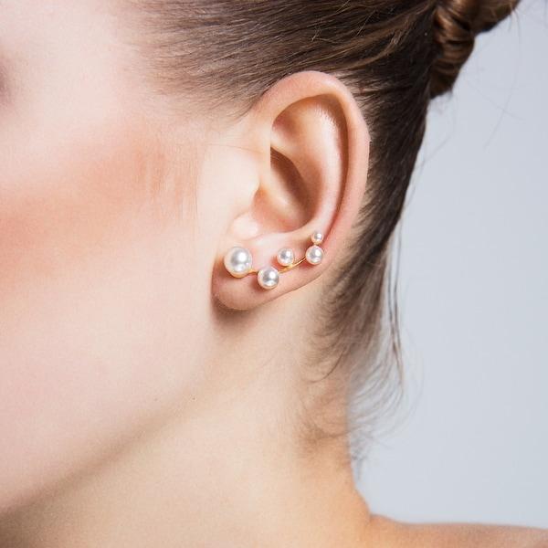 Amorium Pearl Ear Climber Earrings